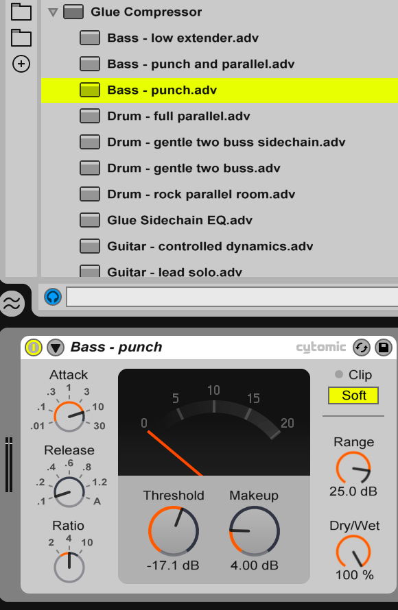 Compression audio: image illustrant Bass punch preset
