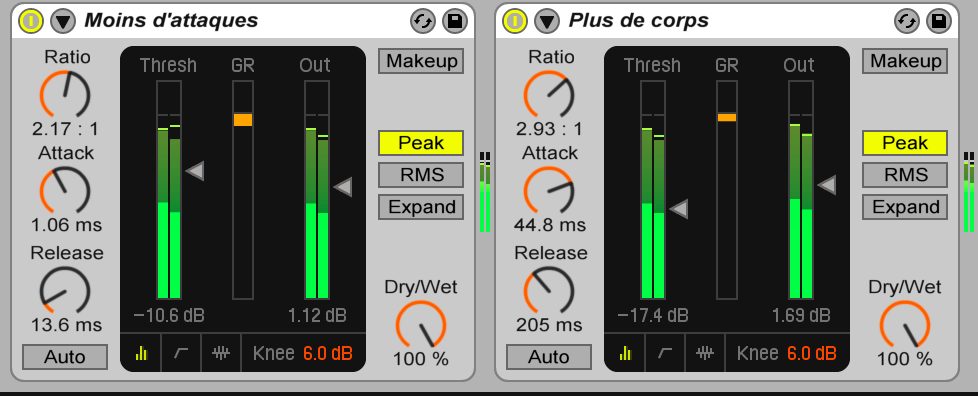 compression audio: image Compresseurs en série