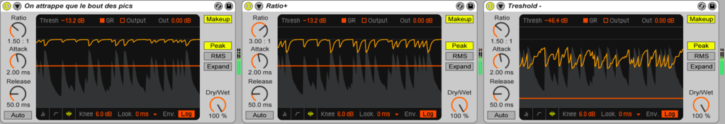 Compression audio: Ratio et treshold