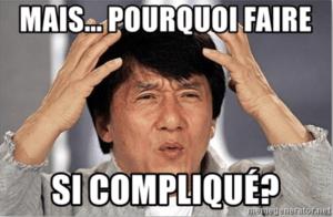 Image Jackie Chan qui se demande pourquoi faire si compliqué